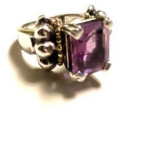 LAGOS sterling silver and 18k gold amethyst ring